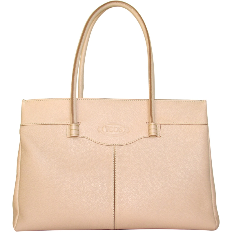 61af5f266f TOD'S luxurious nude color leather MOCASSINO BAG medium Made in Italy