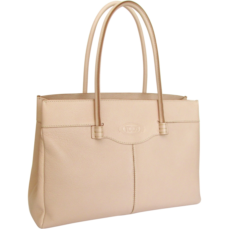 483dd99642 TOD'S luxurious nude color leather MOCASSINO BAG medium Made in Italy
