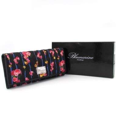 Blumarine portafoglio donna nero con romantica stampa floreale